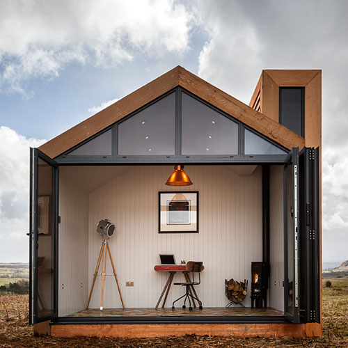 my bothy bi-fold doors open with office and desk